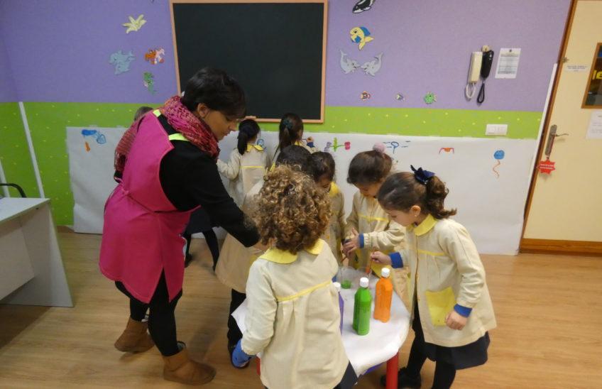 Profesora y alumnos dibujan con temperas